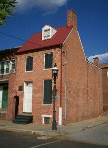 Brick row house of Edgar Allan Poe some say he haunts