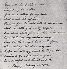 A poem to Poe from Virginia on display at the haunted Baltimore Poe House
